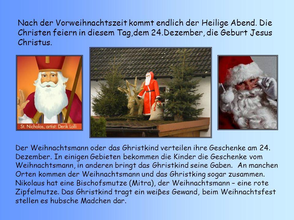 Der Weihnachtsmann bringt den Kindern schone Geschenke in einem groβen Sack.