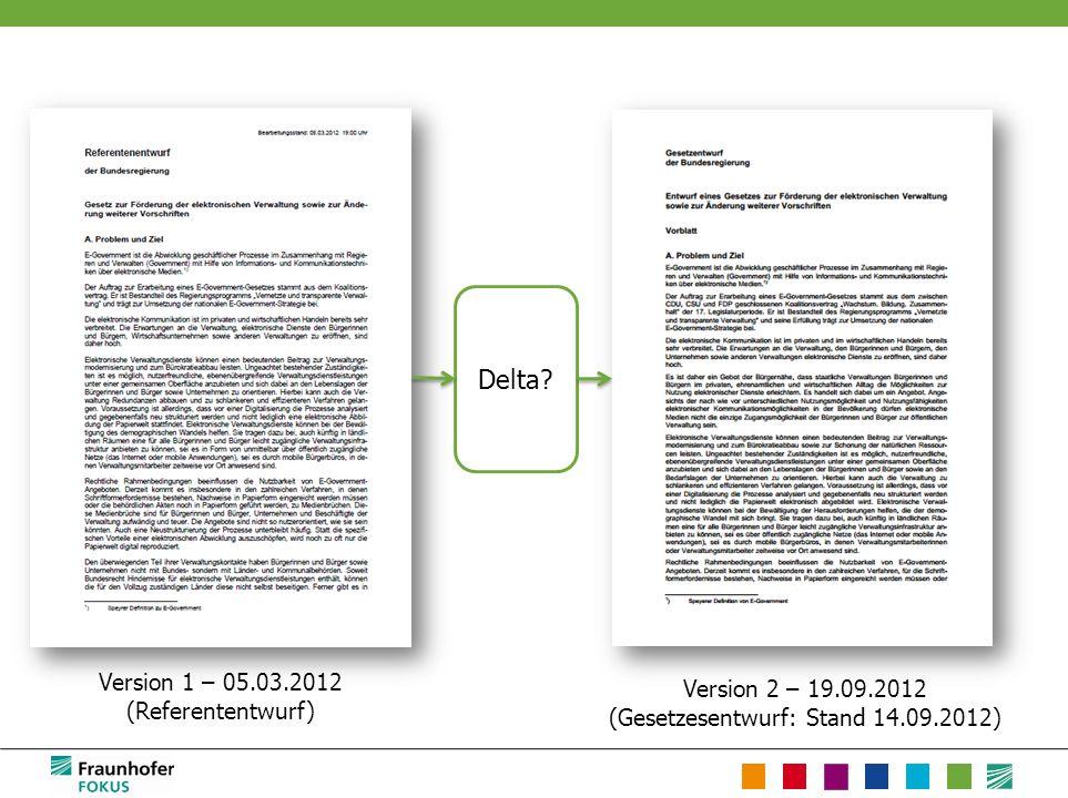 Version 2 – 19.09.2012 (Gesetzesentwurf: Stand 14.09.2012) Version 1 – 05.03.2012 (Referententwurf) Delta