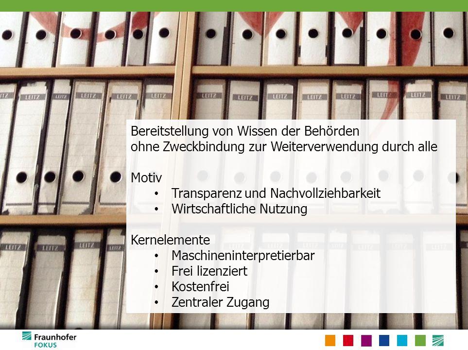 Transparenz: Offene Daten Kernelemente maschinenverarbeitbar kostenfrei frei lizenziert zentral verfügbar
