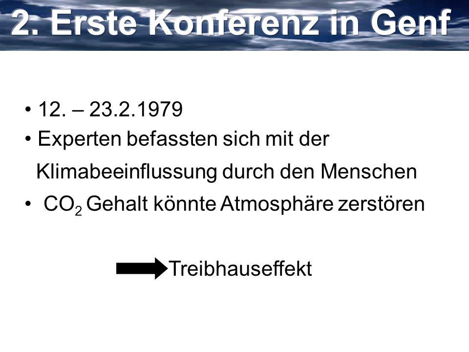 12. – 23.2.1979 Experten befassten sich mit der Klimabeeinflussung durch den Menschen CO 2 Gehalt könnte Atmosphäre zerstören Treibhauseffekt