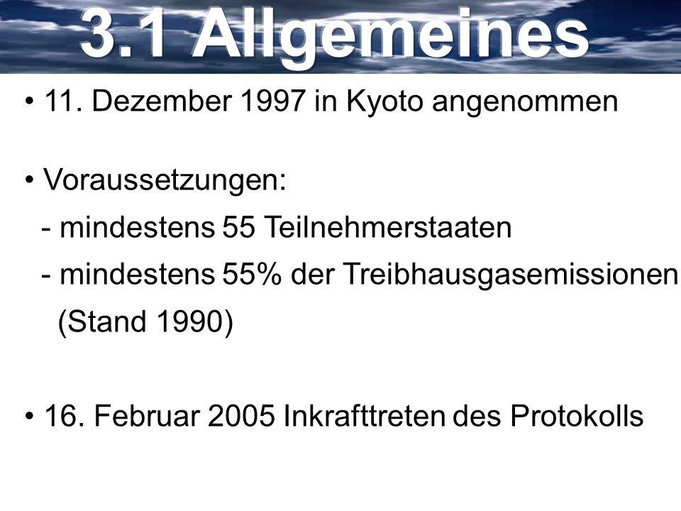11. Dezember 1997 in Kyoto angenommen Voraussetzungen: - mindestens 55 Teilnehmerstaaten - mindestens 55% der Treibhausgasemissionen (Stand 1990) 16.