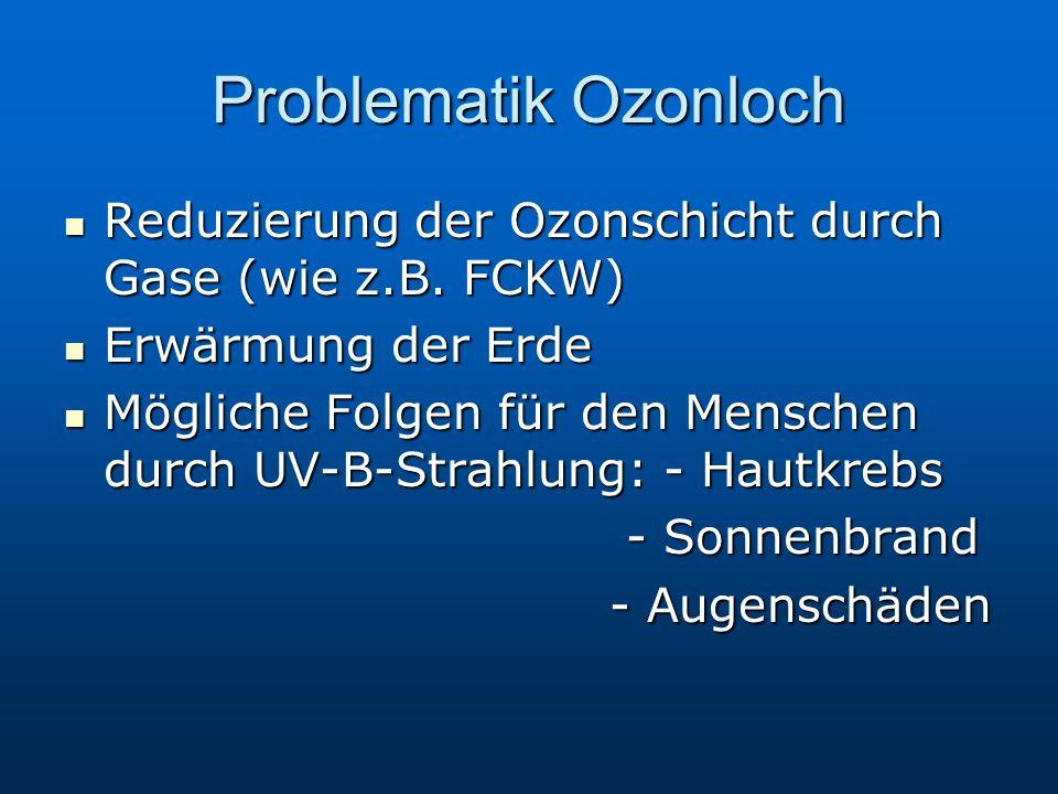 Problematik Ozonloch Reduzierung der Ozonschicht durch Gase (wie z.B.