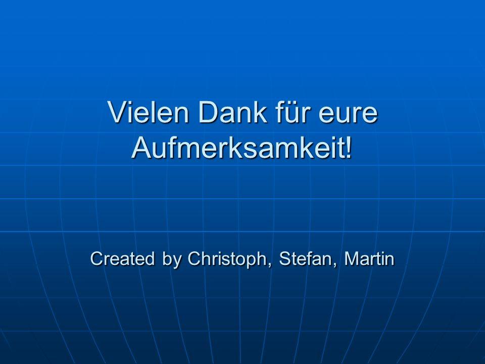 Vielen Dank für eure Aufmerksamkeit! Created by Christoph, Stefan, Martin