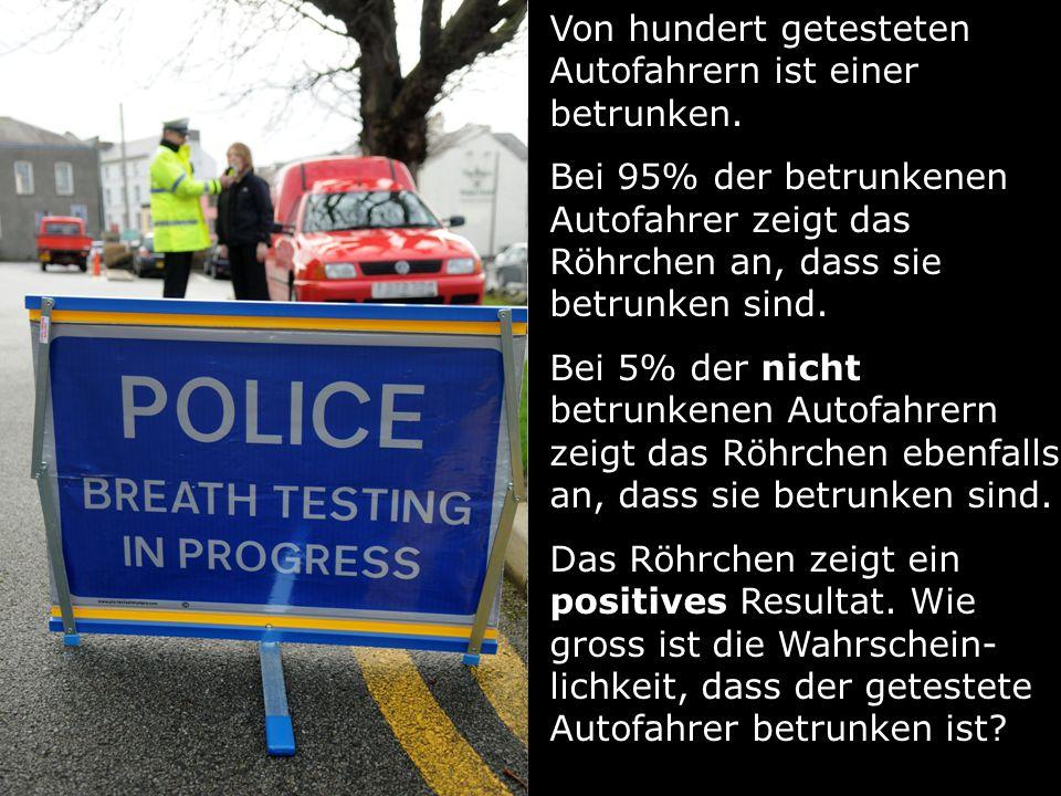 Von hundert getesteten Autofahrern ist einer betrunken. Bei 95% der betrunkenen Autofahrer zeigt das Röhrchen an, dass sie betrunken sind. Bei 5% der