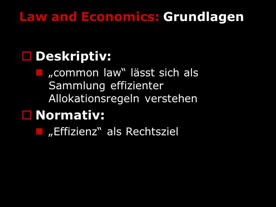 Law and Economics: Grundlagen Deskriptiv: Mensch als homo oeconomicus, rational und nutzenmaximierend Rechtsregeln als Preise Normativ: eine Rechtsregel ist gut, wenn sie zu einer potentiellen Pareto-Verbesserung führt