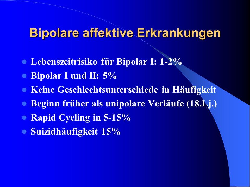 Bipolare affektive Erkrankungen Lebenszeitrisiko für Bipolar I: 1-2% Bipolar I und II: 5% Keine Geschlechtsunterschiede in Häufigkeit Beginn früher al