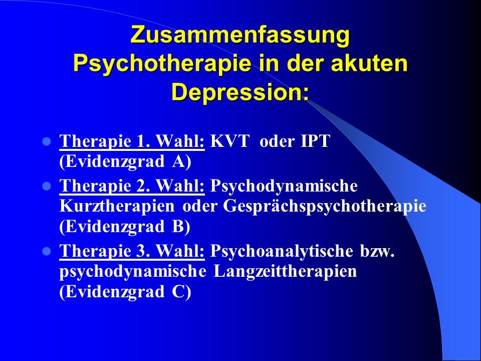 Zusammenfassung Psychotherapie in der akuten Depression: Therapie 1. Wahl: KVT oder IPT (Evidenzgrad A) Therapie 2. Wahl: Psychodynamische Kurztherapi