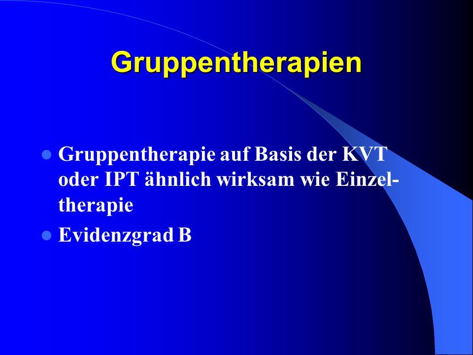 Gruppentherapien Gruppentherapie auf Basis der KVT oder IPT ähnlich wirksam wie Einzel- therapie Evidenzgrad B