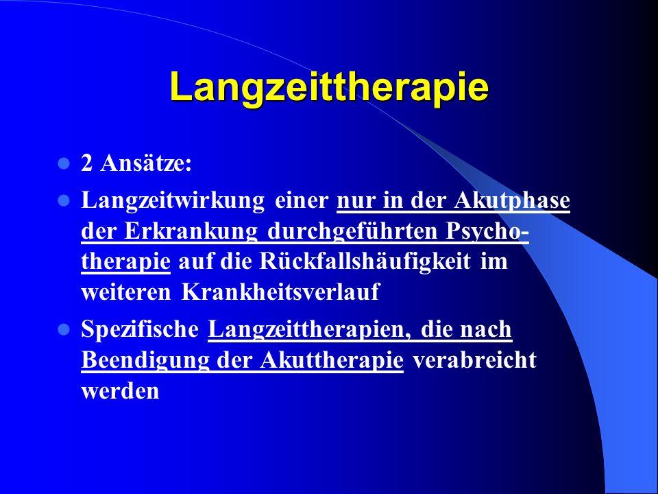 Langzeittherapie 2 Ansätze: Langzeitwirkung einer nur in der Akutphase der Erkrankung durchgeführten Psycho- therapie auf die Rückfallshäufigkeit im w