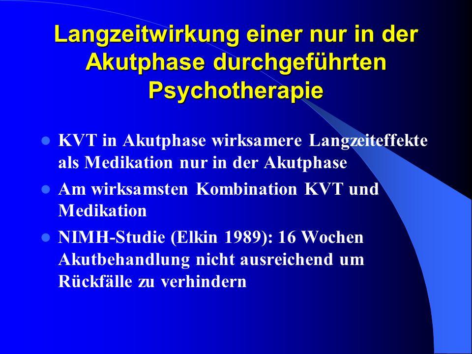 Langzeitwirkung einer nur in der Akutphase durchgeführten Psychotherapie KVT in Akutphase wirksamere Langzeiteffekte als Medikation nur in der Akutpha