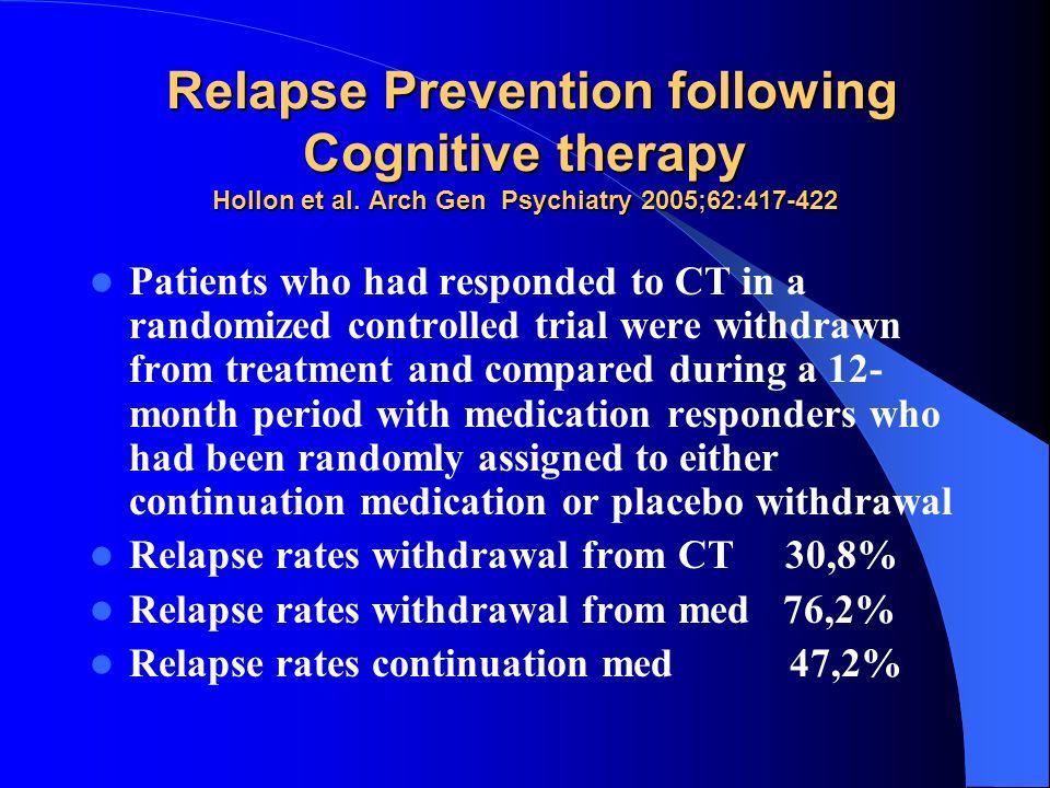 Relapse Prevention following Cognitive therapy Hollon et al. Arch Gen Psychiatry 2005;62:417-422 Relapse Prevention following Cognitive therapy Hollon