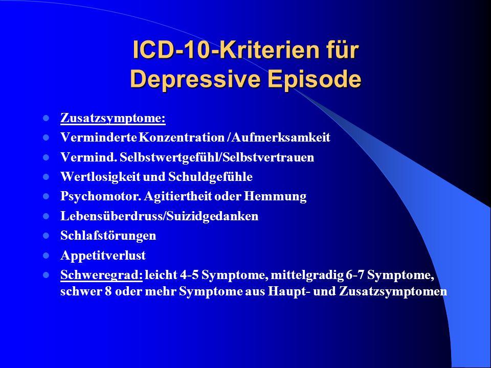 ICD-10-Kriterien für Depressive Episode Zusatzsymptome: Verminderte Konzentration /Aufmerksamkeit Vermind. Selbstwertgefühl/Selbstvertrauen Wertlosigk
