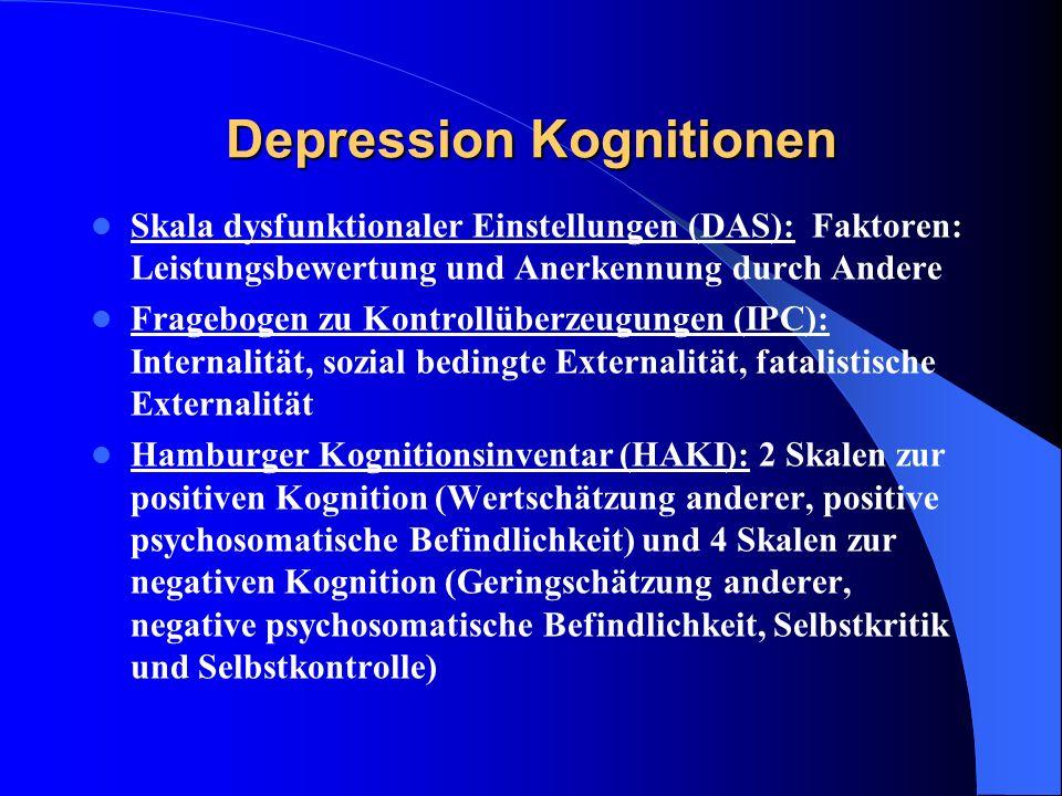 Depression Kognitionen Skala dysfunktionaler Einstellungen (DAS): Faktoren: Leistungsbewertung und Anerkennung durch Andere Fragebogen zu Kontrollüber
