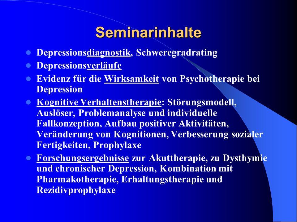 Achtsamkeitsbasierte Kognitive Therapie bei Depression 8 Sitzungen: Der Autopilot (Rosinen-Übung, Body-Scan) Der Umgang mit Hindernissen (Situation anerkennen, ohne Beurteilung, ohne sie anders haben zu wollen) Achtsamkeit des Atmens Gegenwärtig Sein (Sitzmeditation, Gewahrsein auf den ganzen Körper ausdehnen, Achtsamkeit gegenüber Geräuschen und Gedanken) Zulassen und Seinlassen (ich bin bereit es zu fühlen, es ist okay) Gedanken sind keine Tatsachen (negatives Denken erkennen) Wie kann ich am besten für mich sorgen (Aktivitäten, die mich stärken, Aktivitäten die mich schwächen,…) Wie kann das Gelernte im Umgang mit zukünftigen Stimmungstiefs helfen.