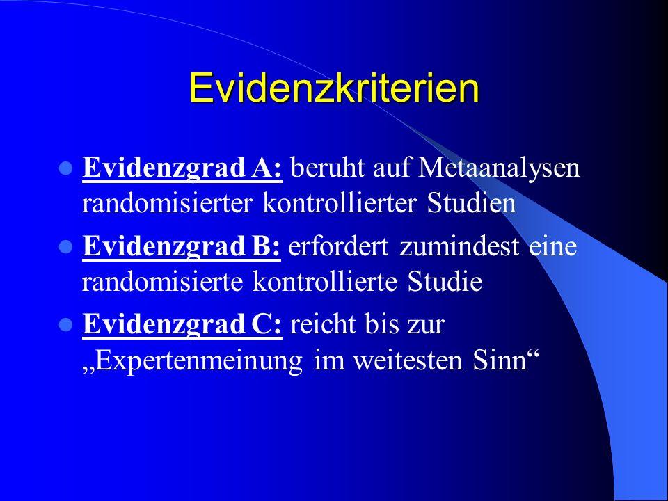 Evidenzkriterien Evidenzgrad A: beruht auf Metaanalysen randomisierter kontrollierter Studien Evidenzgrad B: erfordert zumindest eine randomisierte ko