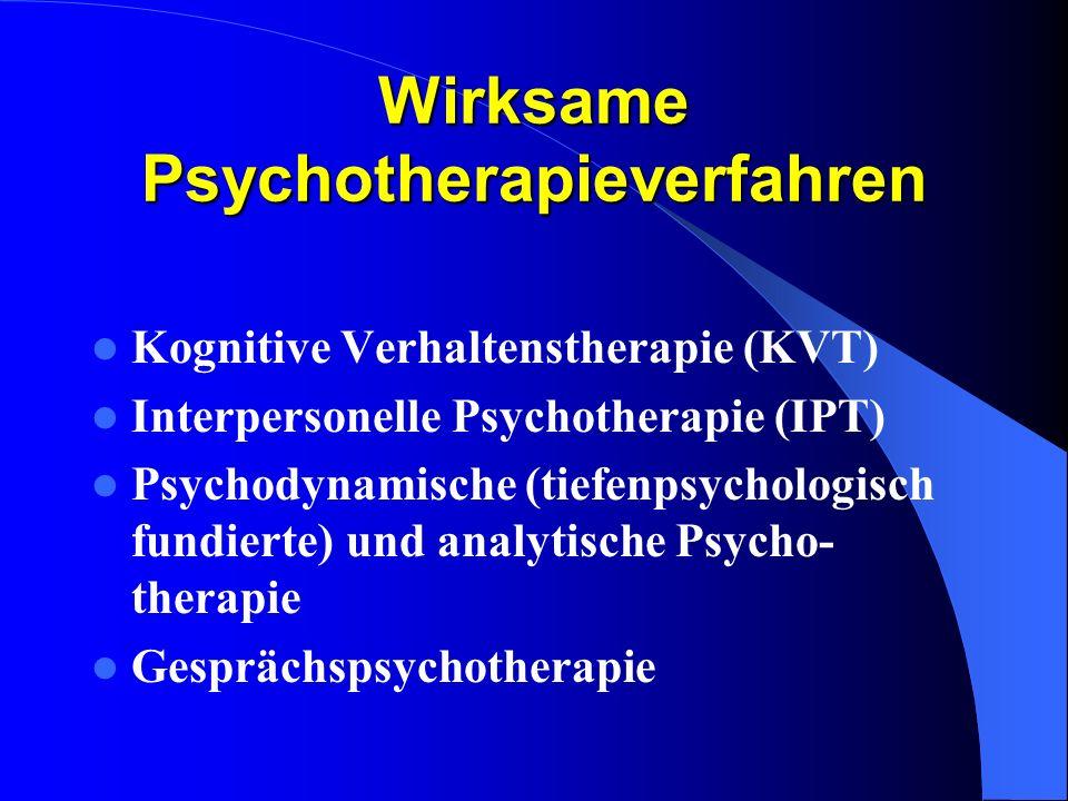 Wirksame Psychotherapieverfahren Kognitive Verhaltenstherapie (KVT) Interpersonelle Psychotherapie (IPT) Psychodynamische (tiefenpsychologisch fundier