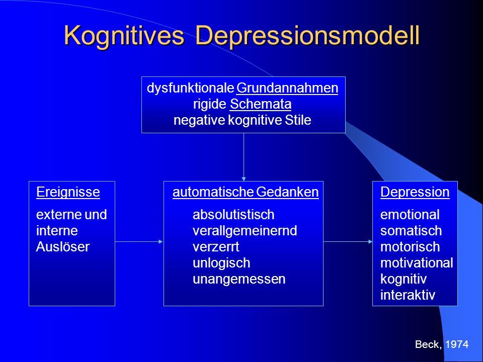 Kognitives Depressionsmodell dysfunktionale Grundannahmen rigide Schemata negative kognitive Stile automatische Gedanken absolutistisch verallgemeiner