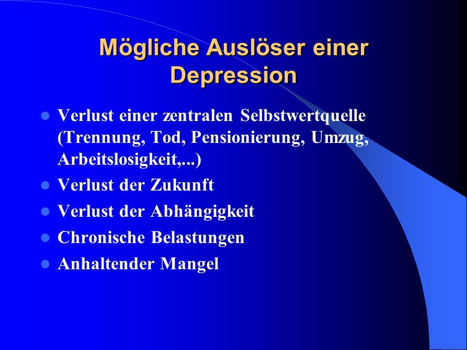 Mögliche Auslöser einer Depression Verlust einer zentralen Selbstwertquelle (Trennung, Tod, Pensionierung, Umzug, Arbeitslosigkeit,...) Verlust der Zu