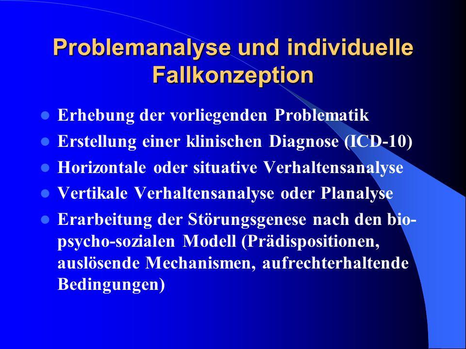 Problemanalyse und individuelle Fallkonzeption Erhebung der vorliegenden Problematik Erstellung einer klinischen Diagnose (ICD-10) Horizontale oder si