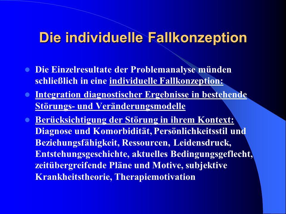 Die individuelle Fallkonzeption Die Einzelresultate der Problemanalyse münden schließlich in eine individuelle Fallkonzeption: Integration diagnostisc