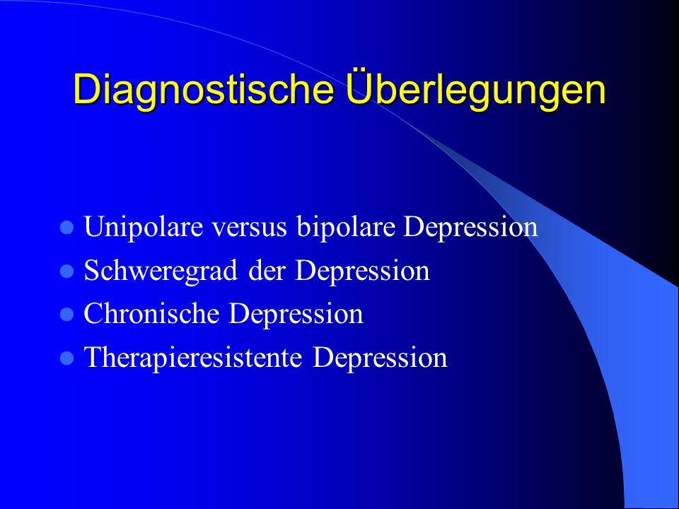 Einteilung der depressiven Störungen nach ICD-10 Depressive Störungen Volles depressives SyndromSubdepressives Syndrom erste depressive Episode schon früher depressive Episode frühere manische Episode psychosoziale Belastung Dauer <4 Wochen Depressive Episode Rezidivierende depressive Störung Bipolare affektive Störung Kurze depressive Reaktion F32F33F31F43.20 Dauer >2 Jahre ohne hypomane Episoden Dysthymie F34.1
