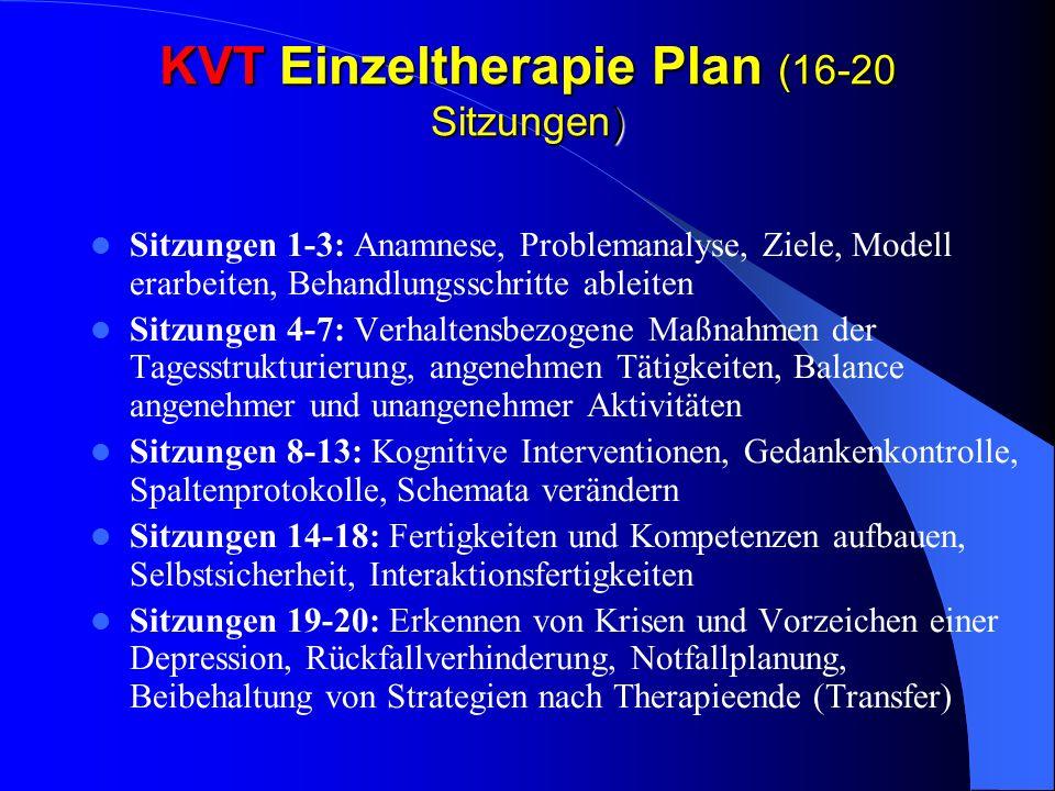 KVT Einzeltherapie Plan (16-20 Sitzungen) Sitzungen 1-3: Anamnese, Problemanalyse, Ziele, Modell erarbeiten, Behandlungsschritte ableiten Sitzungen 4-