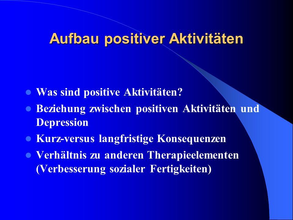 Aufbau positiver Aktivitäten Was sind positive Aktivitäten? Beziehung zwischen positiven Aktivitäten und Depression Kurz-versus langfristige Konsequen
