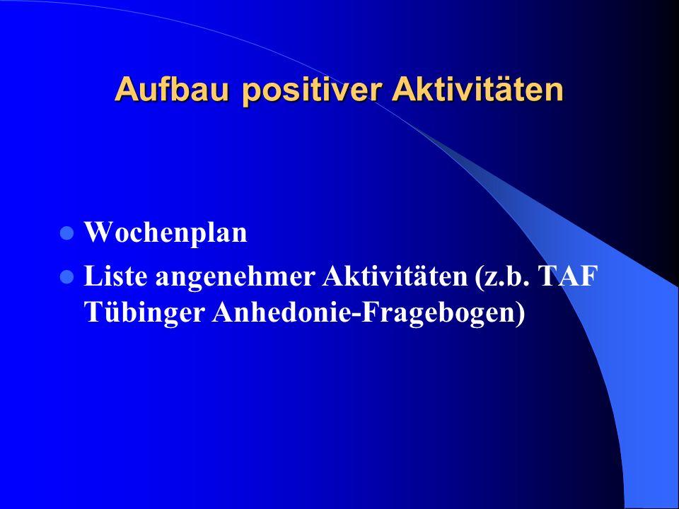 Aufbau positiver Aktivitäten Wochenplan Liste angenehmer Aktivitäten (z.b. TAF Tübinger Anhedonie-Fragebogen)