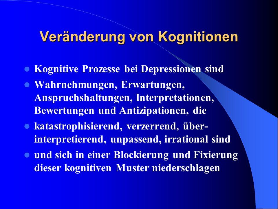 Veränderung von Kognitionen Kognitive Prozesse bei Depressionen sind Wahrnehmungen, Erwartungen, Anspruchshaltungen, Interpretationen, Bewertungen und