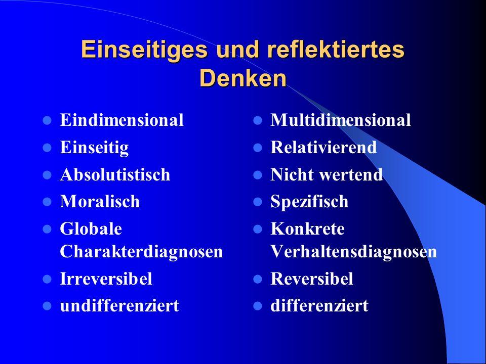 Einseitiges und reflektiertes Denken Eindimensional Einseitig Absolutistisch Moralisch Globale Charakterdiagnosen Irreversibel undifferenziert Multidi