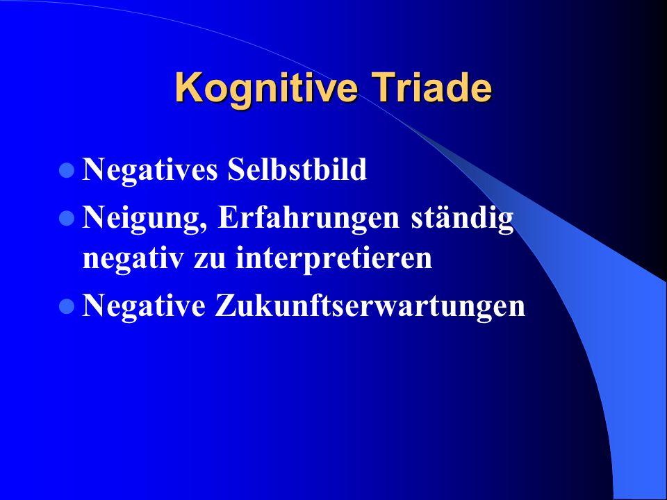Kognitive Triade Negatives Selbstbild Neigung, Erfahrungen ständig negativ zu interpretieren Negative Zukunftserwartungen