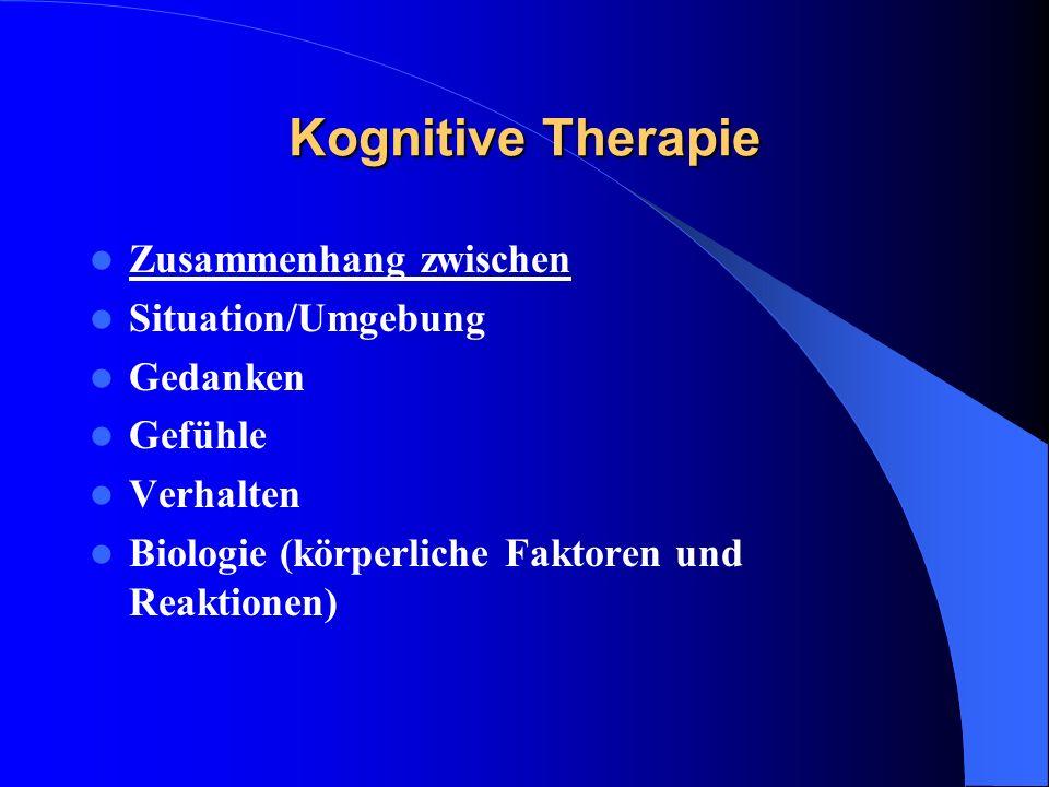 Kognitive Therapie Zusammenhang zwischen Situation/Umgebung Gedanken Gefühle Verhalten Biologie (körperliche Faktoren und Reaktionen)