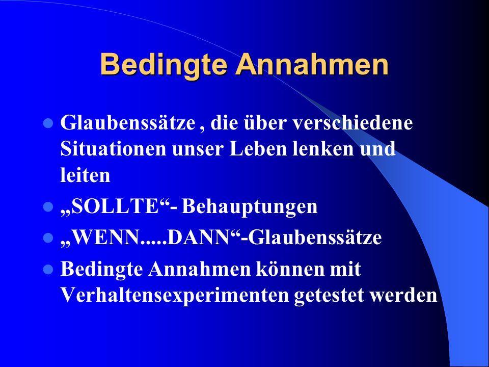 Bedingte Annahmen Glaubenssätze, die über verschiedene Situationen unser Leben lenken und leiten SOLLTE- Behauptungen WENN.....DANN-Glaubenssätze Bedi