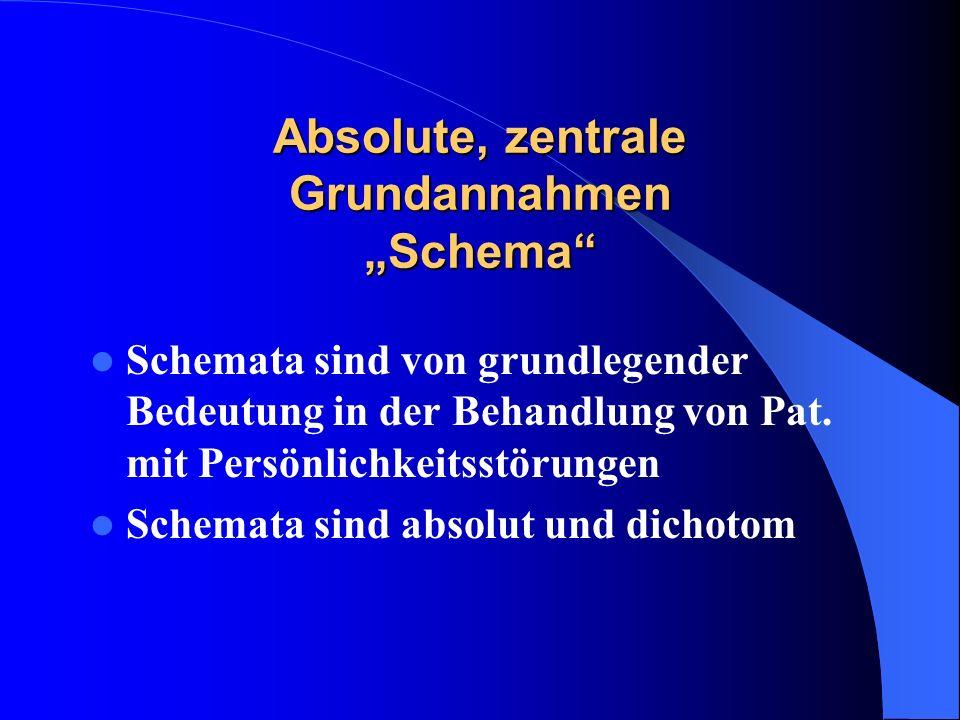 Absolute, zentrale Grundannahmen Schema Schemata sind von grundlegender Bedeutung in der Behandlung von Pat. mit Persönlichkeitsstörungen Schemata sin