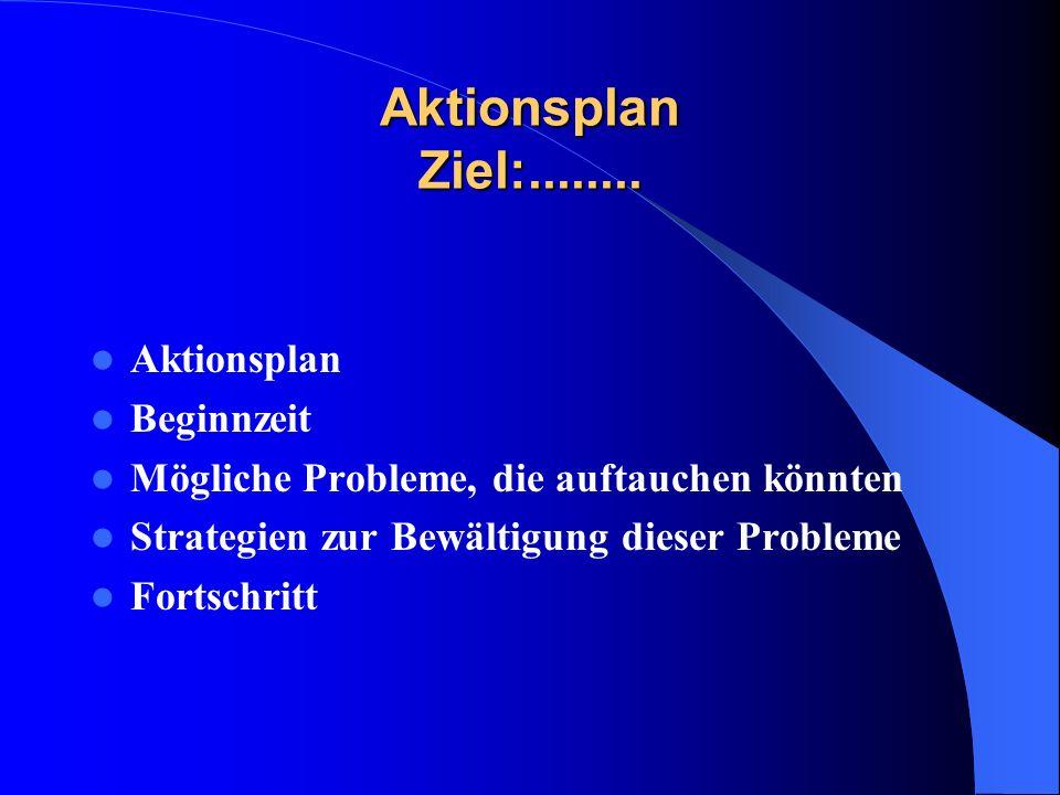 Aktionsplan Ziel:........ Aktionsplan Beginnzeit Mögliche Probleme, die auftauchen könnten Strategien zur Bewältigung dieser Probleme Fortschritt