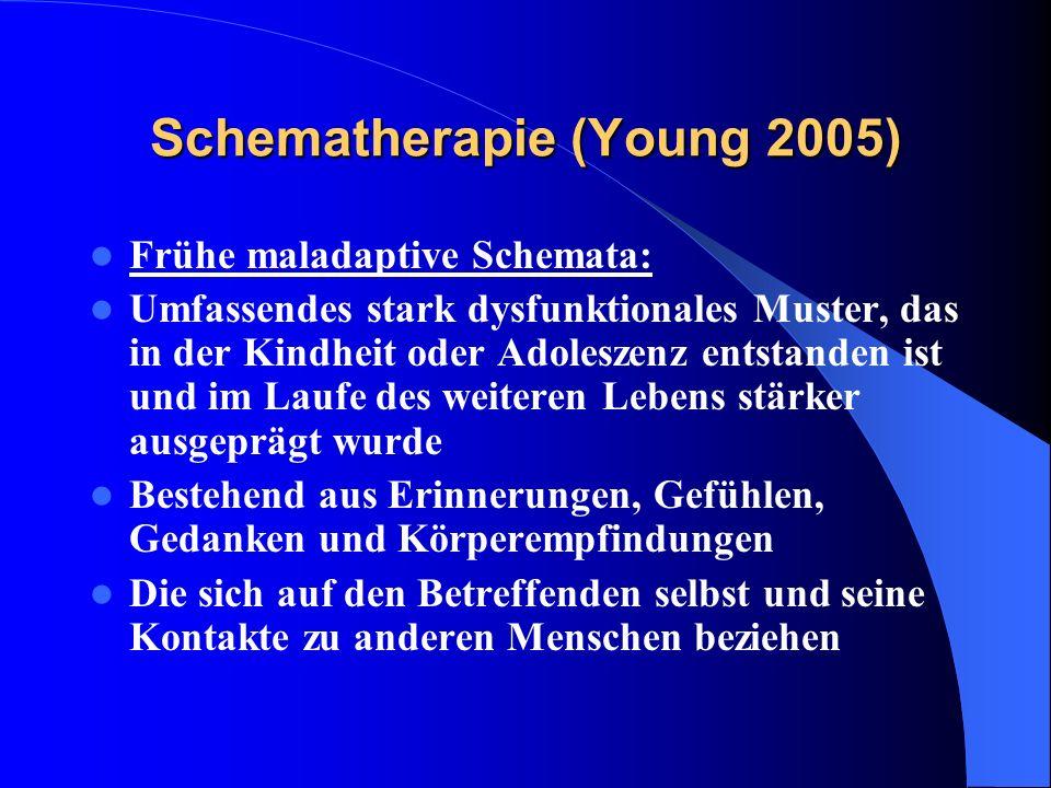 Schematherapie (Young 2005) Frühe maladaptive Schemata: Umfassendes stark dysfunktionales Muster, das in der Kindheit oder Adoleszenz entstanden ist u