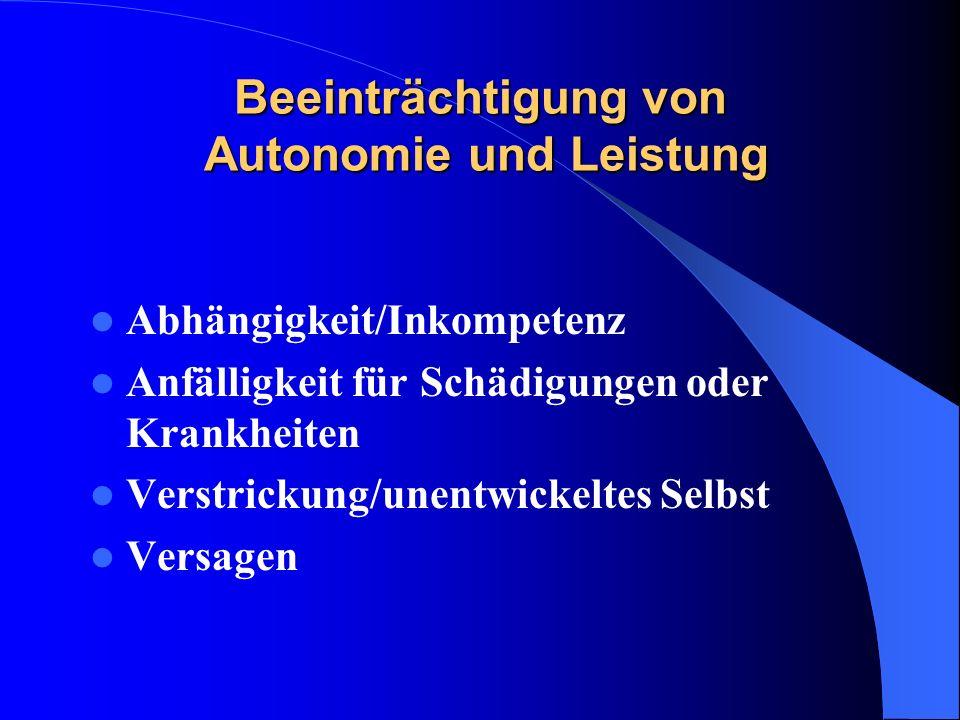 Beeinträchtigung von Autonomie und Leistung Abhängigkeit/Inkompetenz Anfälligkeit für Schädigungen oder Krankheiten Verstrickung/unentwickeltes Selbst