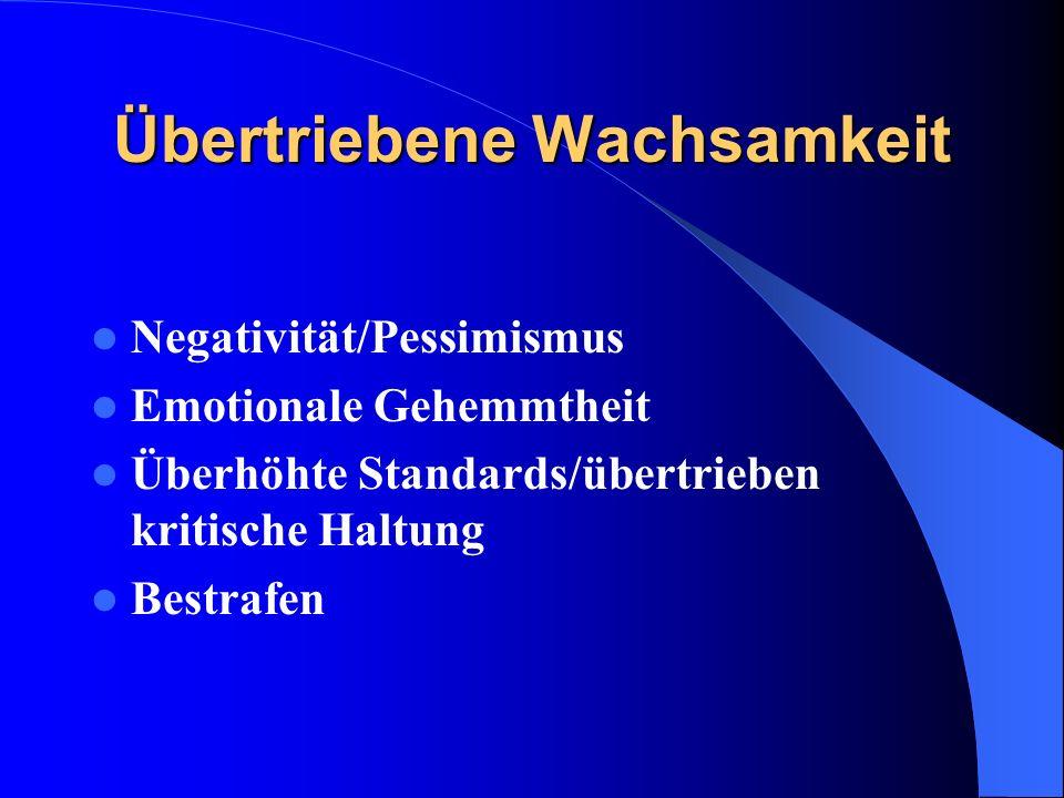 Übertriebene Wachsamkeit Negativität/Pessimismus Emotionale Gehemmtheit Überhöhte Standards/übertrieben kritische Haltung Bestrafen