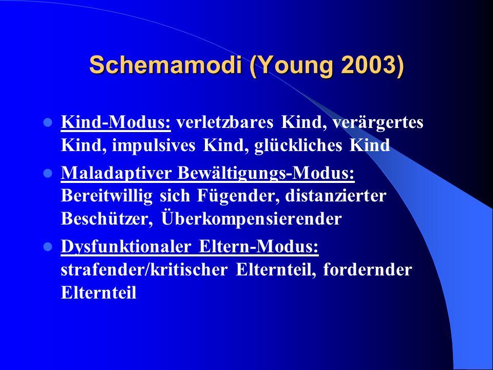 Schemamodi (Young 2003) Kind-Modus: verletzbares Kind, verärgertes Kind, impulsives Kind, glückliches Kind Maladaptiver Bewältigungs-Modus: Bereitwill