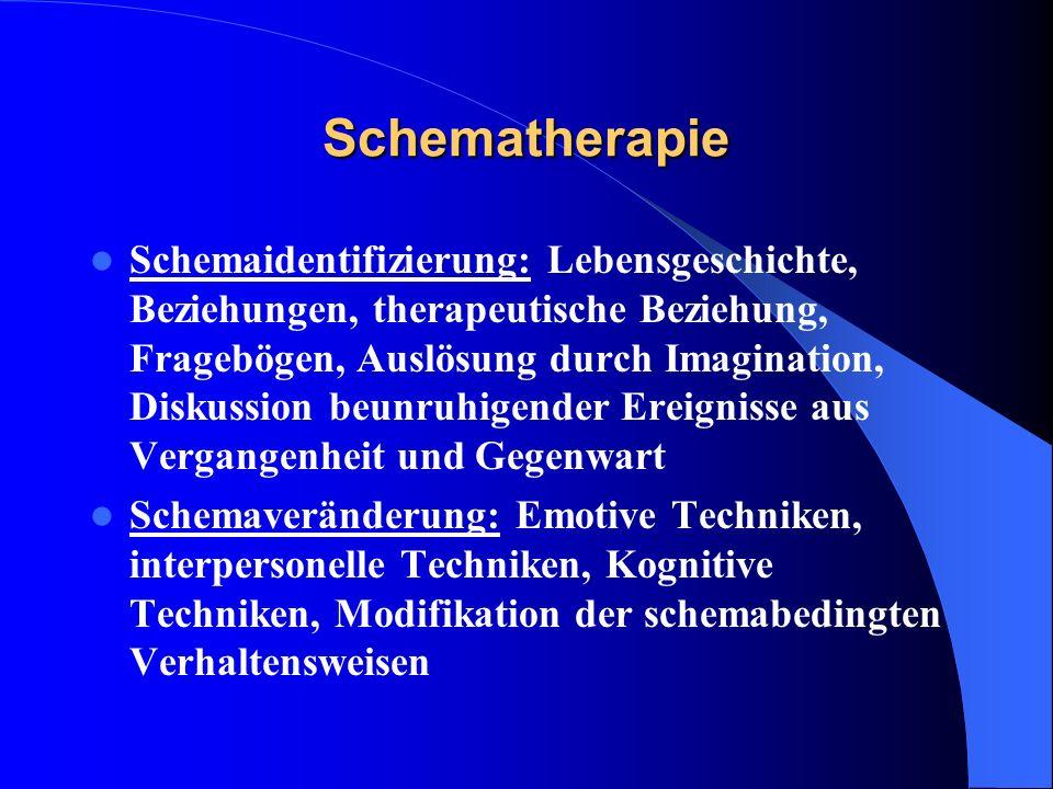 Schematherapie Schemaidentifizierung: Lebensgeschichte, Beziehungen, therapeutische Beziehung, Fragebögen, Auslösung durch Imagination, Diskussion beu