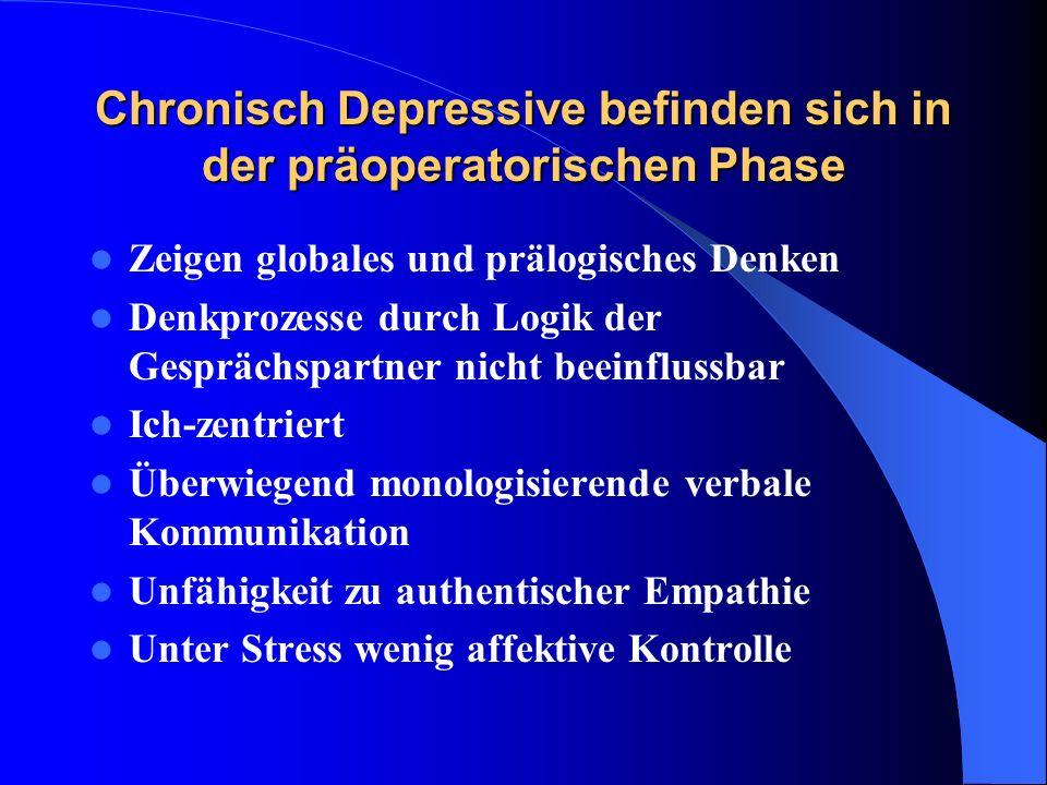 Chronisch Depressive befinden sich in der präoperatorischen Phase Zeigen globales und prälogisches Denken Denkprozesse durch Logik der Gesprächspartne