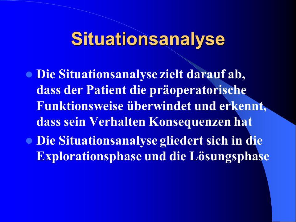 Situationsanalyse Die Situationsanalyse zielt darauf ab, dass der Patient die präoperatorische Funktionsweise überwindet und erkennt, dass sein Verhal