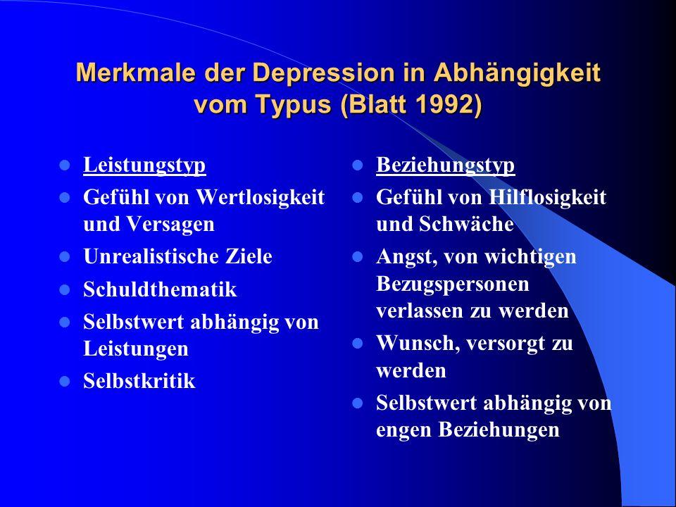 Merkmale der Depression in Abhängigkeit vom Typus (Blatt 1992) Leistungstyp Gefühl von Wertlosigkeit und Versagen Unrealistische Ziele Schuldthematik