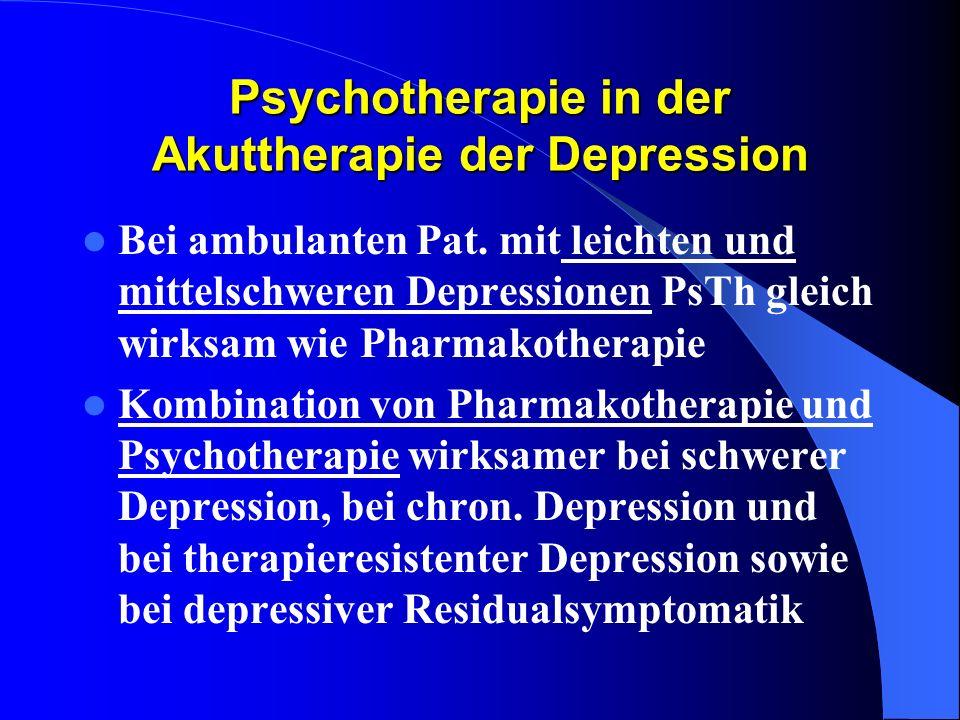 Psychotherapie in der Akuttherapie der Depression Bei ambulanten Pat. mit leichten und mittelschweren Depressionen PsTh gleich wirksam wie Pharmakothe