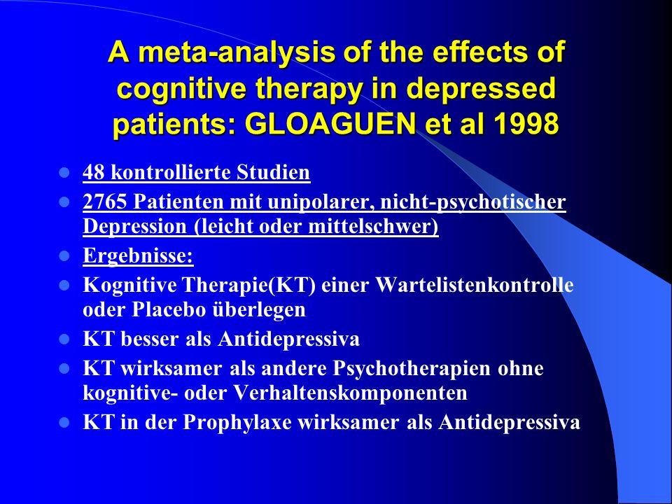 A meta-analysis of the effects of cognitive therapy in depressed patients: GLOAGUEN et al 1998 48 kontrollierte Studien 2765 Patienten mit unipolarer,