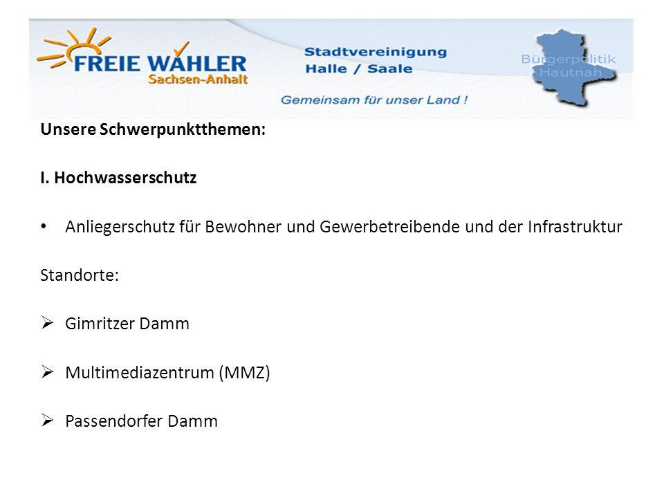 Unsere Schwerpunktthemen: I. Hochwasserschutz Anliegerschutz für Bewohner und Gewerbetreibende und der Infrastruktur Standorte: Gimritzer Damm Multime