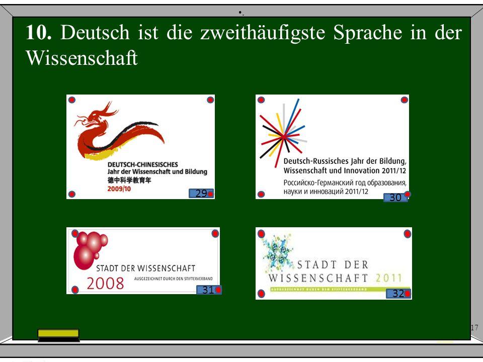 17. 10. Deutsch ist die zweithäufigste Sprache in der Wissenschaft 32 30 29 31