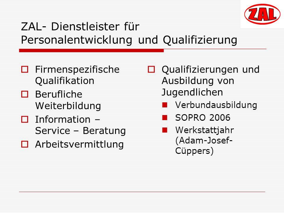 ZAL- Dienstleister für Personalentwicklung und Qualifizierung Firmenspezifische Qualifikation Berufliche Weiterbildung Information – Service – Beratun