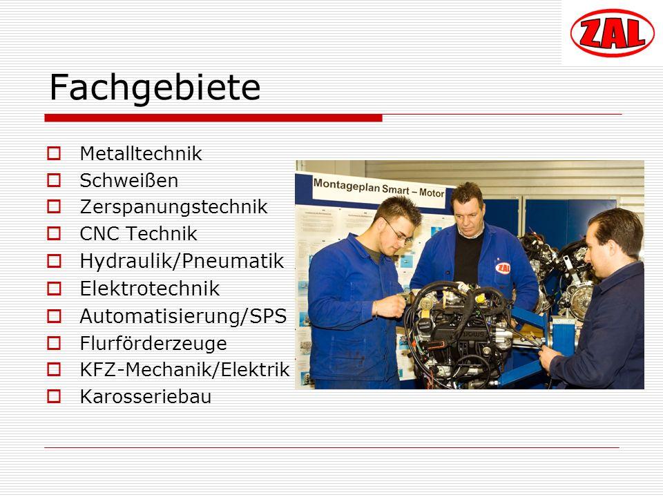 Fachgebiete Metalltechnik Schweißen Zerspanungstechnik CNC Technik Hydraulik/Pneumatik Elektrotechnik Automatisierung/SPS Flurförderzeuge KFZ-Mechanik/Elektrik Karosseriebau