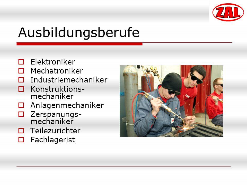 Ausbildungsberufe Elektroniker Mechatroniker Industriemechaniker Konstruktions- mechaniker Anlagenmechaniker Zerspanungs- mechaniker Teilezurichter Fa